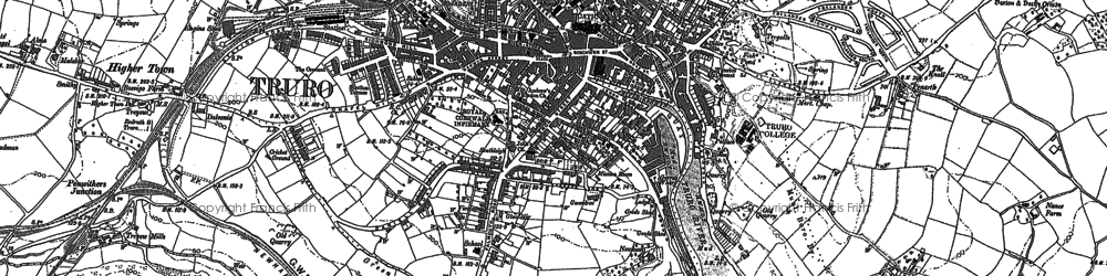 Old map of Truro in 1879