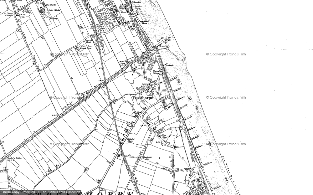 Old Map of Historic Map covering Bamber's Br in 1888
