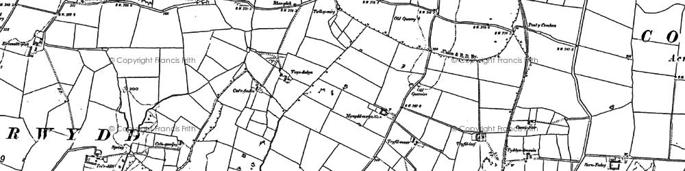 Old map of Llandrygan in 1887