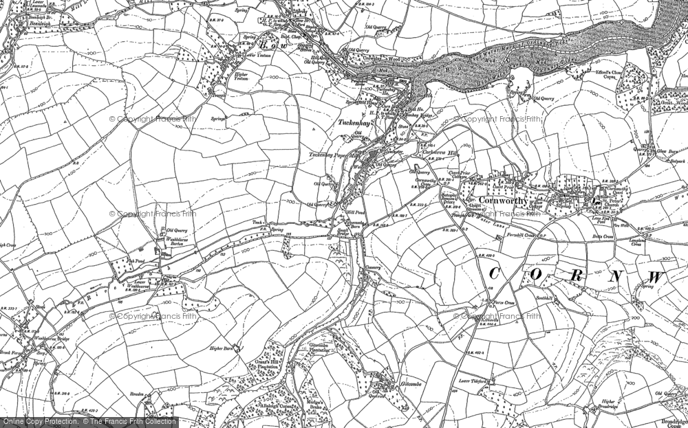 Old Map of Tuckenhay, 1886 in 1886