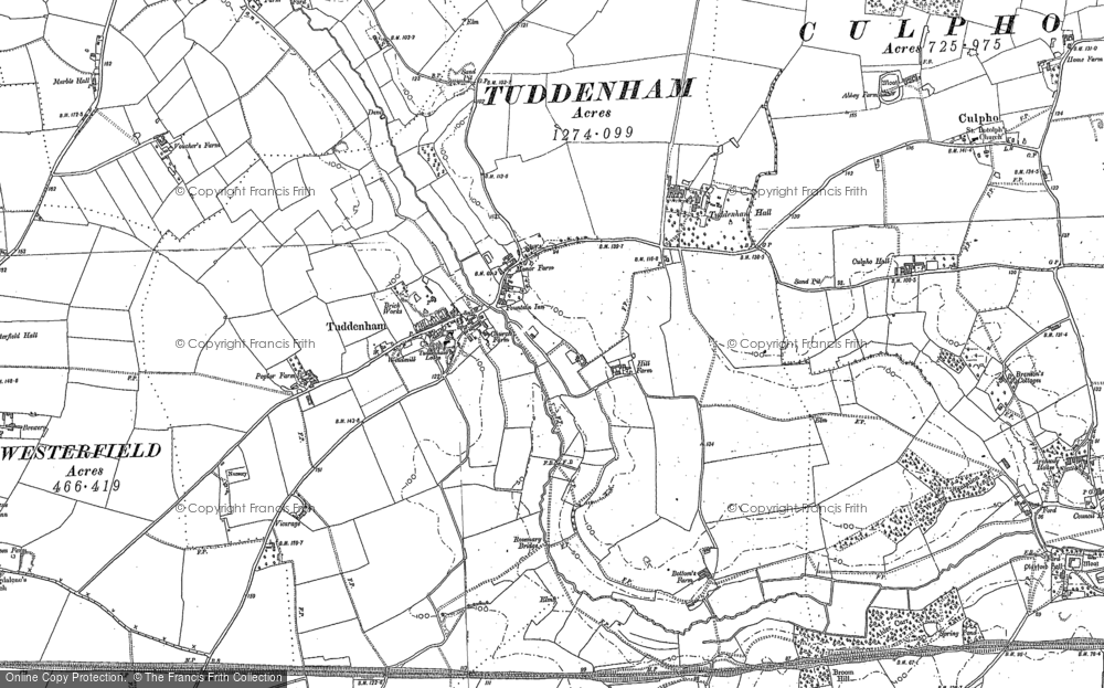 Old Map of Historic Map covering Larks' Hill in 1881