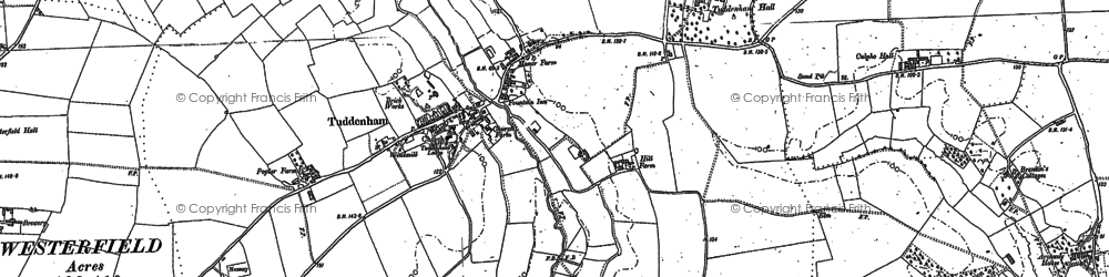 Old map of Westerfield Ho in 1881