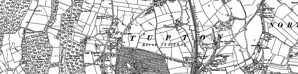 Old map of Nether Moor in 1877