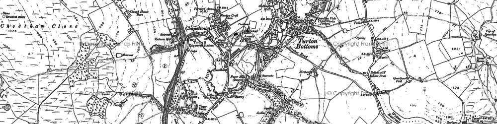 Old map of Turton Bottoms in 1891