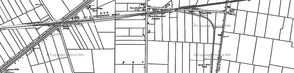 Old map of Whittlesey Dike in 1886