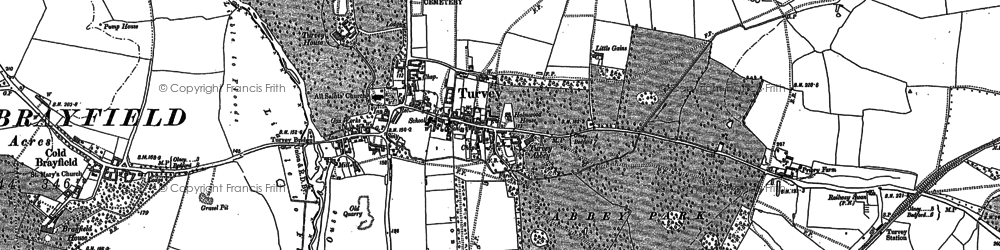 Old map of Turvey in 1899