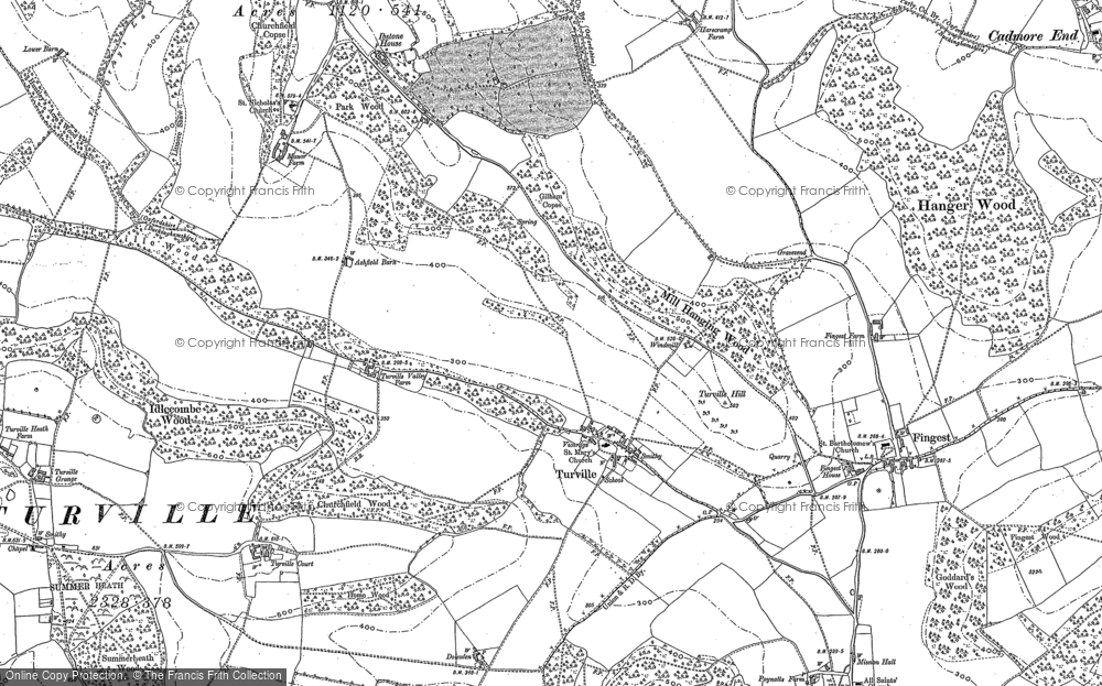 Old Map of Historic Map covering Ashfield Barn in 1897