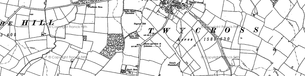 Old map of Twycross in 1885