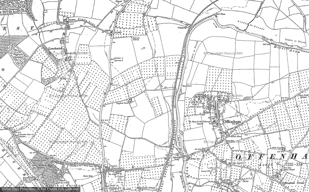 Old Map of Historic Map covering Abbey Manor in 1885