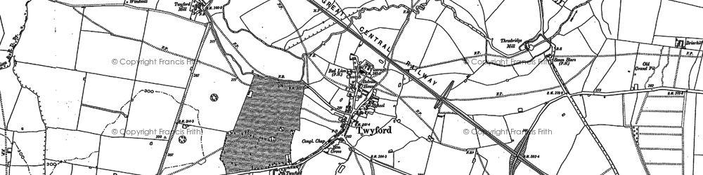 Old map of Twyford in 1898