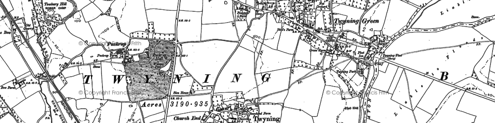 Old map of Church End in 1884