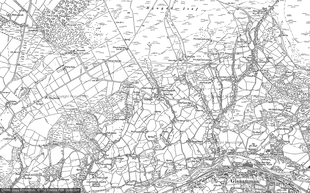 Old Map of Historic Map covering Afon Aman in 1905