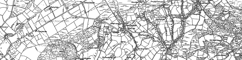 Old map of Afon Aman in 1905
