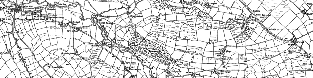 Old map of Afon Duar in 1904