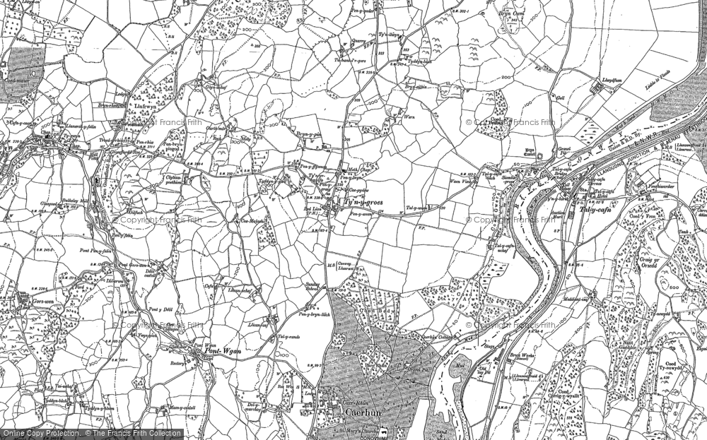 Old Map of Historic Map covering Afon Roe in 1887