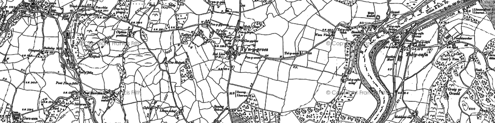 Old map of Afon Roe in 1887