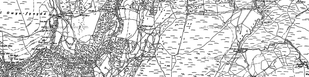 Old map of Afon Ceirw in 1887