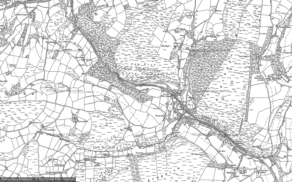 Old Map of Historic Map covering Alltlwyd in 1875