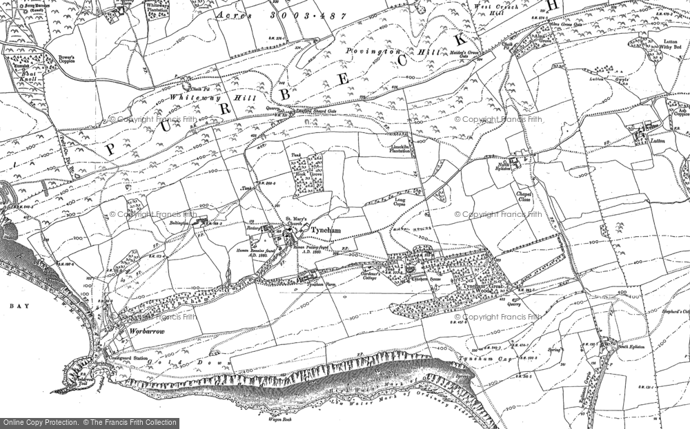 Old Map of Historic Map covering Whiteway Hill in 1900