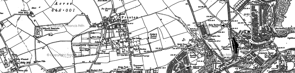 Old map of Tynemouth in 1895
