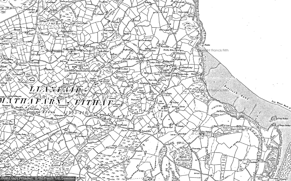 Old Map of Historic Map covering Ynys Isaf in 1887