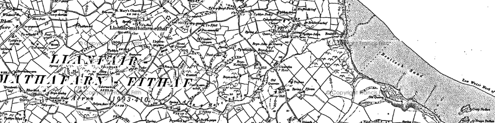 Old map of Ynys Isaf in 1887