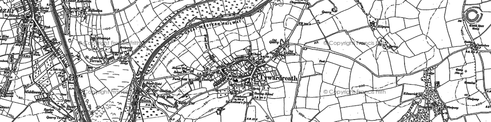 Old map of Tywardreath in 1881