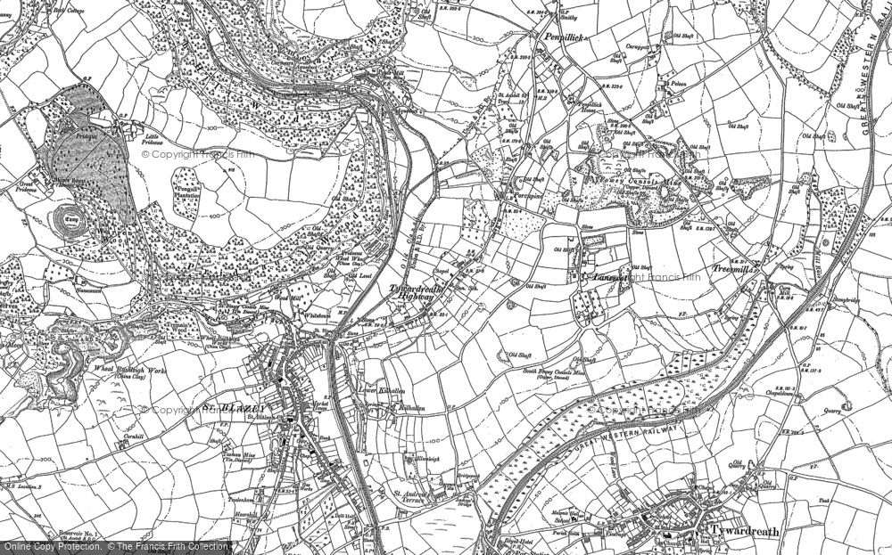 Old Map of Tywardreath Highway, 1881 - 1906 in 1881