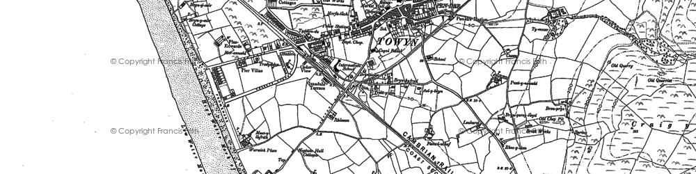 Old map of Tywyn in 1900