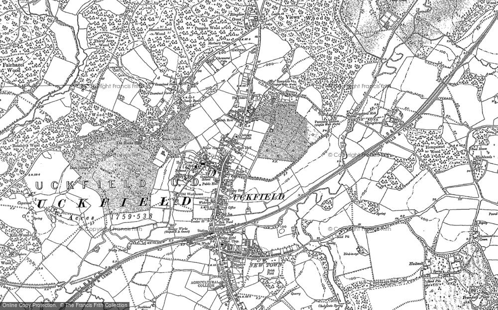 Map of Uckfield, 1873 - 1908
