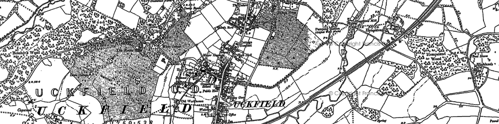 Old map of Uckfield in 1873