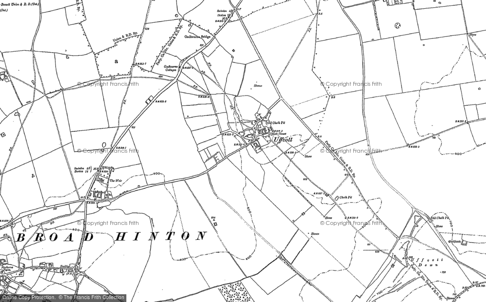 Old Map of Historic Map covering Barbury Castle in 1899