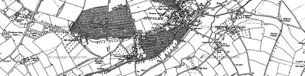 Old map of Uffculme in 1887