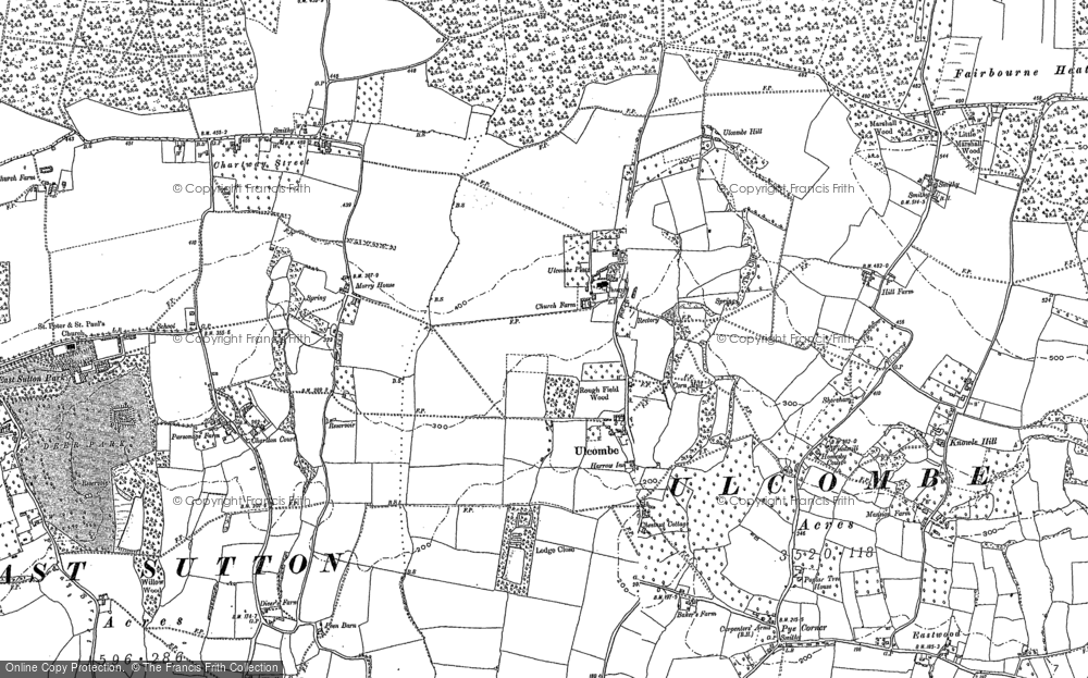 Old Map of Ulcombe, 1896 in 1896