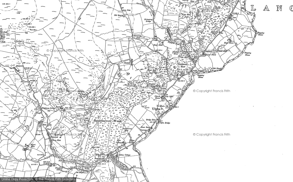 Old Map of Historic Map covering Wood Knotts in 1897