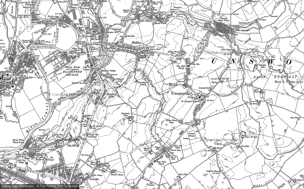 Old Map of Historic Map covering Thurston Fold in 1891