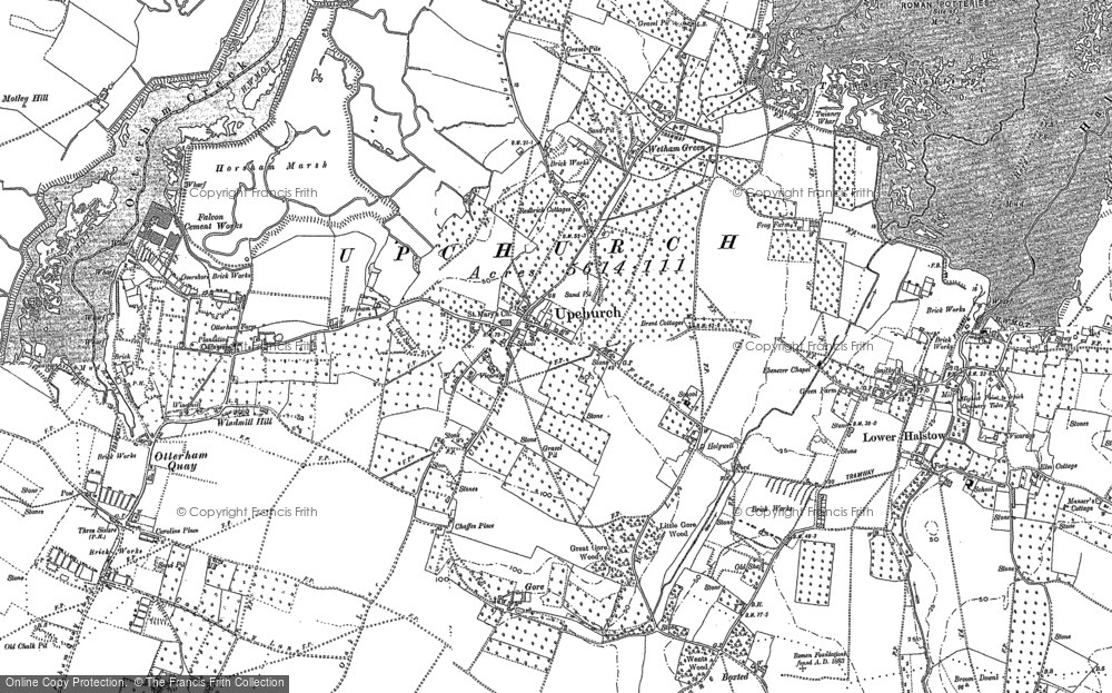 Old Map of Historic Map covering Wetham Green in 1896