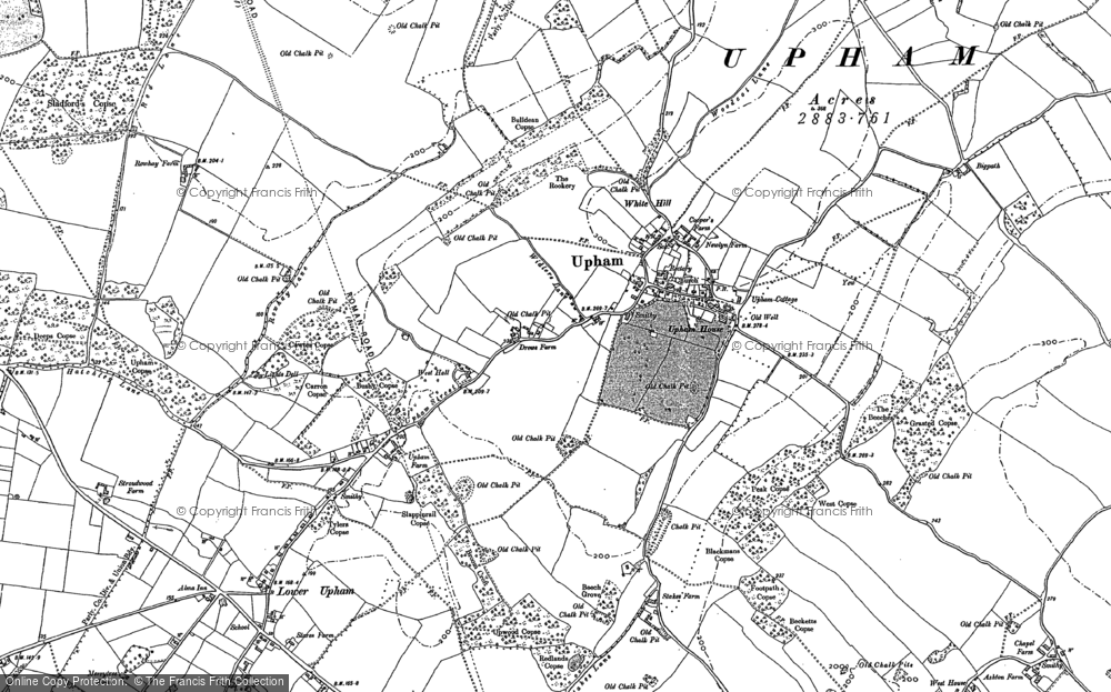 Old Map of Historic Map covering Ashton in 1896