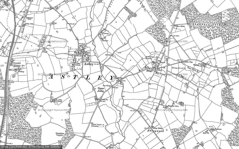 Old Map of Historic Map covering Astley Grange in 1880