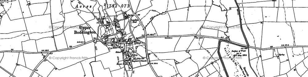 Old map of Upper Boddington in 1899