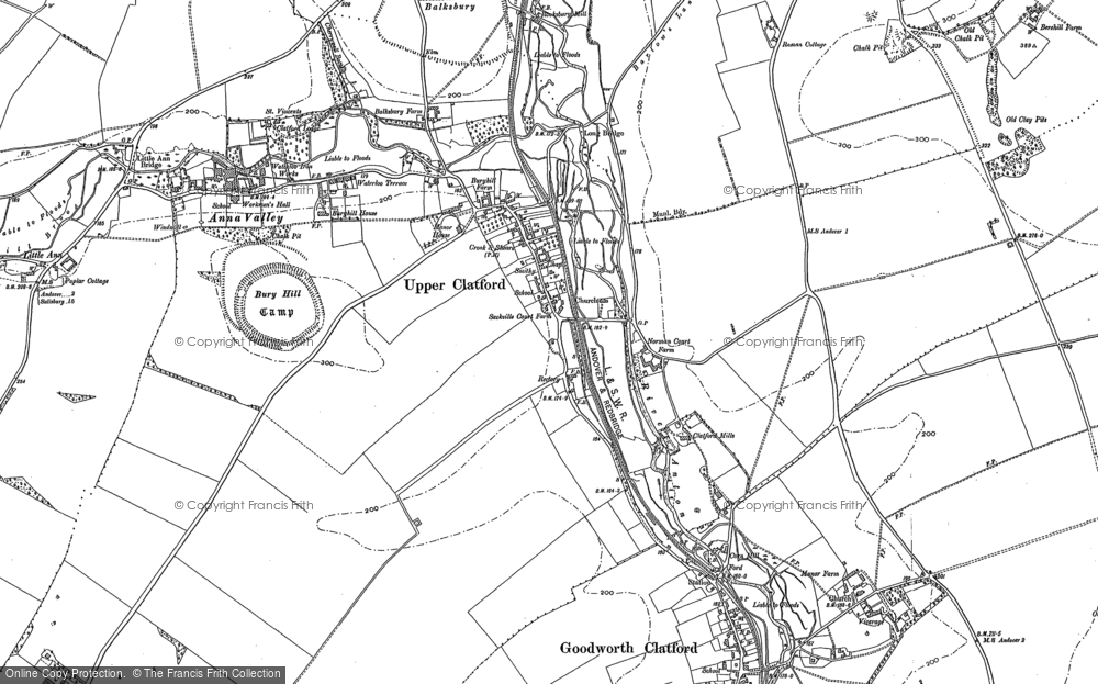 Map of Upper Clatford, 1894