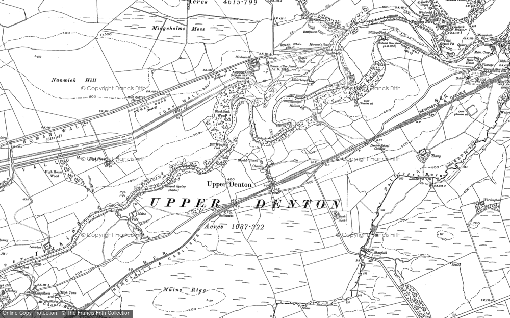 Old Map of Historic Map covering Banna (Roman Fort) in 1899
