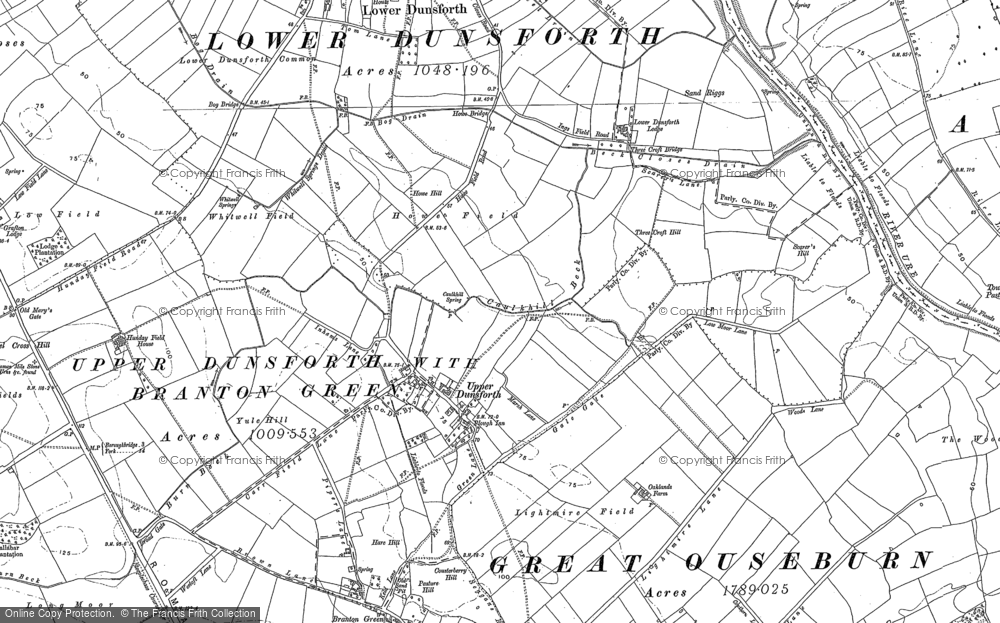 Old Map of Historic Map covering Aldwark in 1892