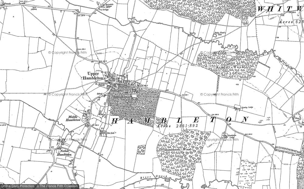Old Map of Upper Hambleton, 1884 in 1884
