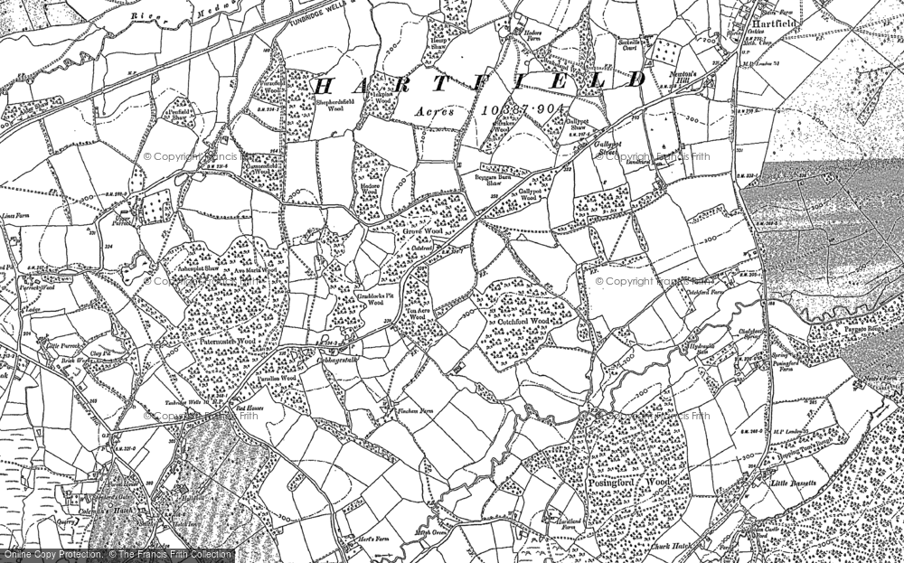 Old Map of Historic Map covering Ashdown Ho (Sch) in 1897