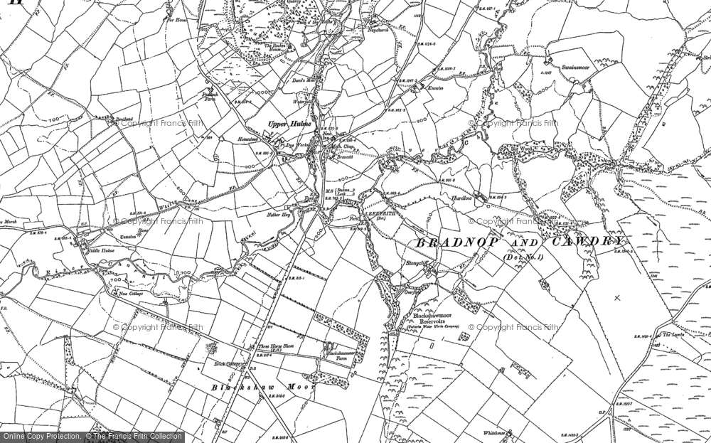 Old Map of Historic Map covering Bareleg Hill in 1897