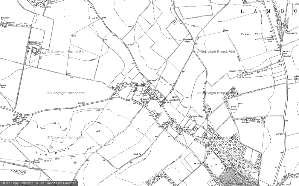 Old Map of Historic Map covering Ashdown Park in 1910