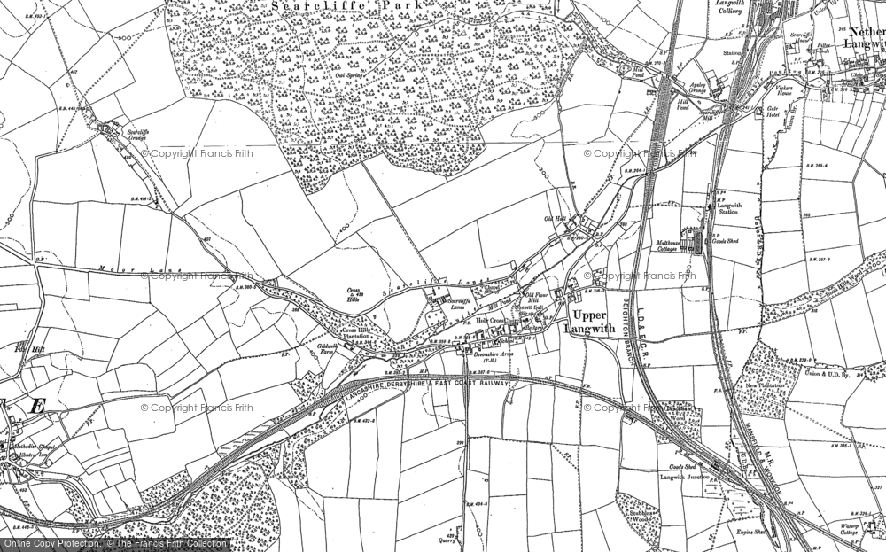 Old Map of Upper Langwith, 1884 - 1897 in 1884