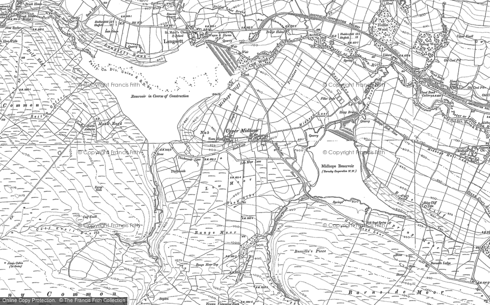 Old Map of Historic Map covering Langsett Resr in 1910