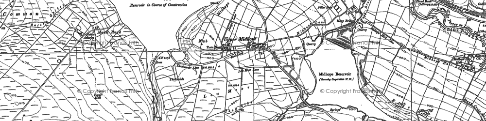 Old map of Langsett Resr in 1910